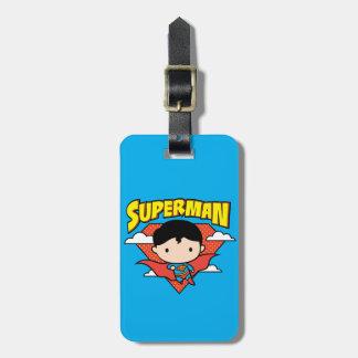Chibi Superman Polka Dot Shield and Name Luggage Tag