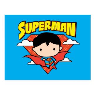 Chibi Superman Polka Dot Shield and Name Postcard