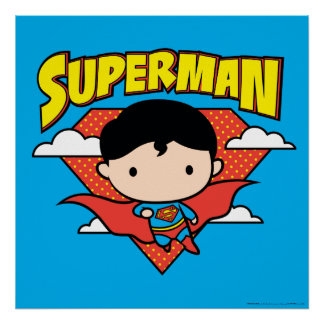 Chibi Superman Polka Dot Shield and Name Poster