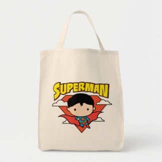 Chibi Superman Polka Dot Shield and Name Tote Bag