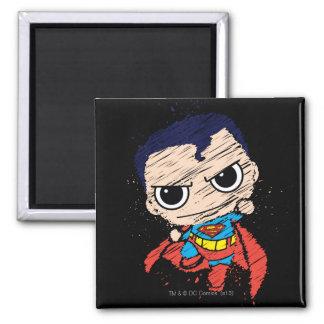 Chibi Superman Sketch - Flying Square Magnet
