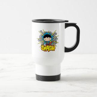 Chibi Superman Smashing Through Brick Wall Travel Mug