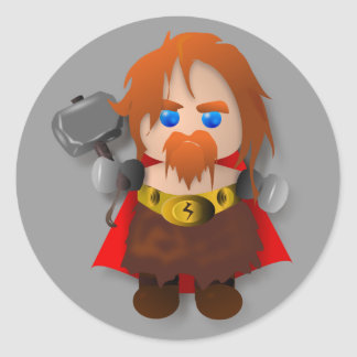 Chibi Thor with Hammer Classic Round Sticker