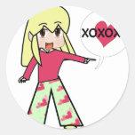 Chibi Valentine Hearts Round Stickers
