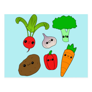 Chibi Vegetables Postcard