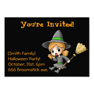 Chibi Witch Halloween Party Invitation