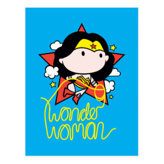 Chibi Wonder Woman Flying With Lasso Postcard