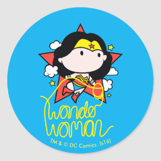 Chibi Wonder Woman Flying With Lasso Round Sticker