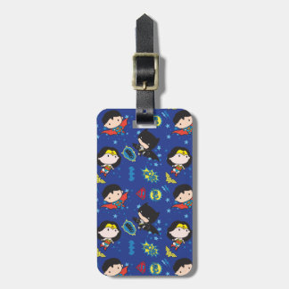 Chibi Wonder Woman, Superman, and Batman Pattern Luggage Tag