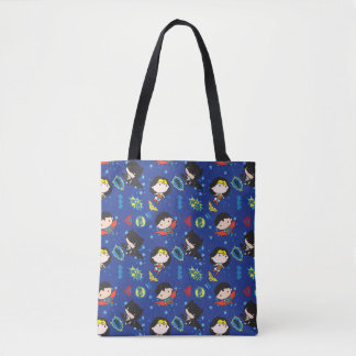 Chibi Wonder Woman, Superman, and Batman Pattern Tote Bag