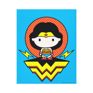 Chibi Wonder Woman With Polka Dots and Logo Canvas Print