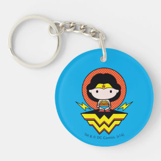 Chibi Wonder Woman With Polka Dots and Logo Key Ring