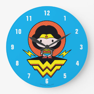 Chibi Wonder Woman With Polka Dots and Logo Large Clock