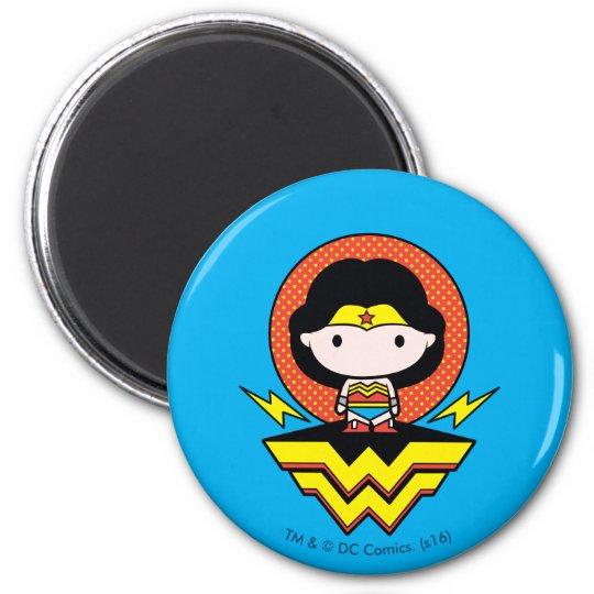 Chibi Wonder Woman With Polka Dots and Logo Magnet