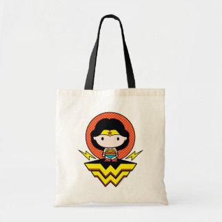 Chibi Wonder Woman With Polka Dots and Logo Tote Bag