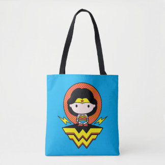 Chibi Wonder Woman With Polka Dots and Logo Tote Bag