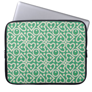 Chic 15-inch Laptop Sleeve: Daisy Chains on Green Laptop Computer Sleeves