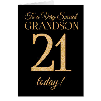 Chic 21st Gold-effect Black Grandson Birthday Card