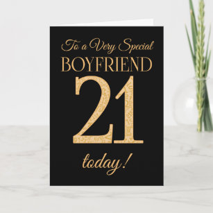 Chic 21st Gold Effect On Black Boyfriend Birthday Card
