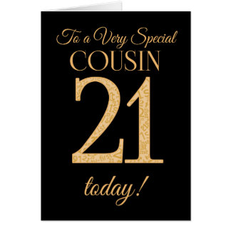 Chic 21st Gold-effect on Black, Cousin Birthday Card