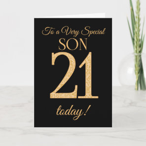 Chic 21st Gold-effect on Black, for Son Birthday Card