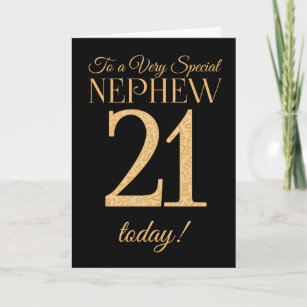 Chic 21st Gold Effect On Black Nephew Birthday Card