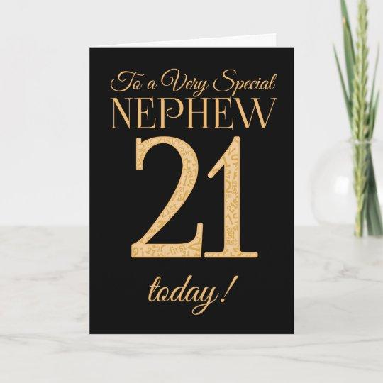 Chic 21st Gold Effect On Black Nephew Birthday Card