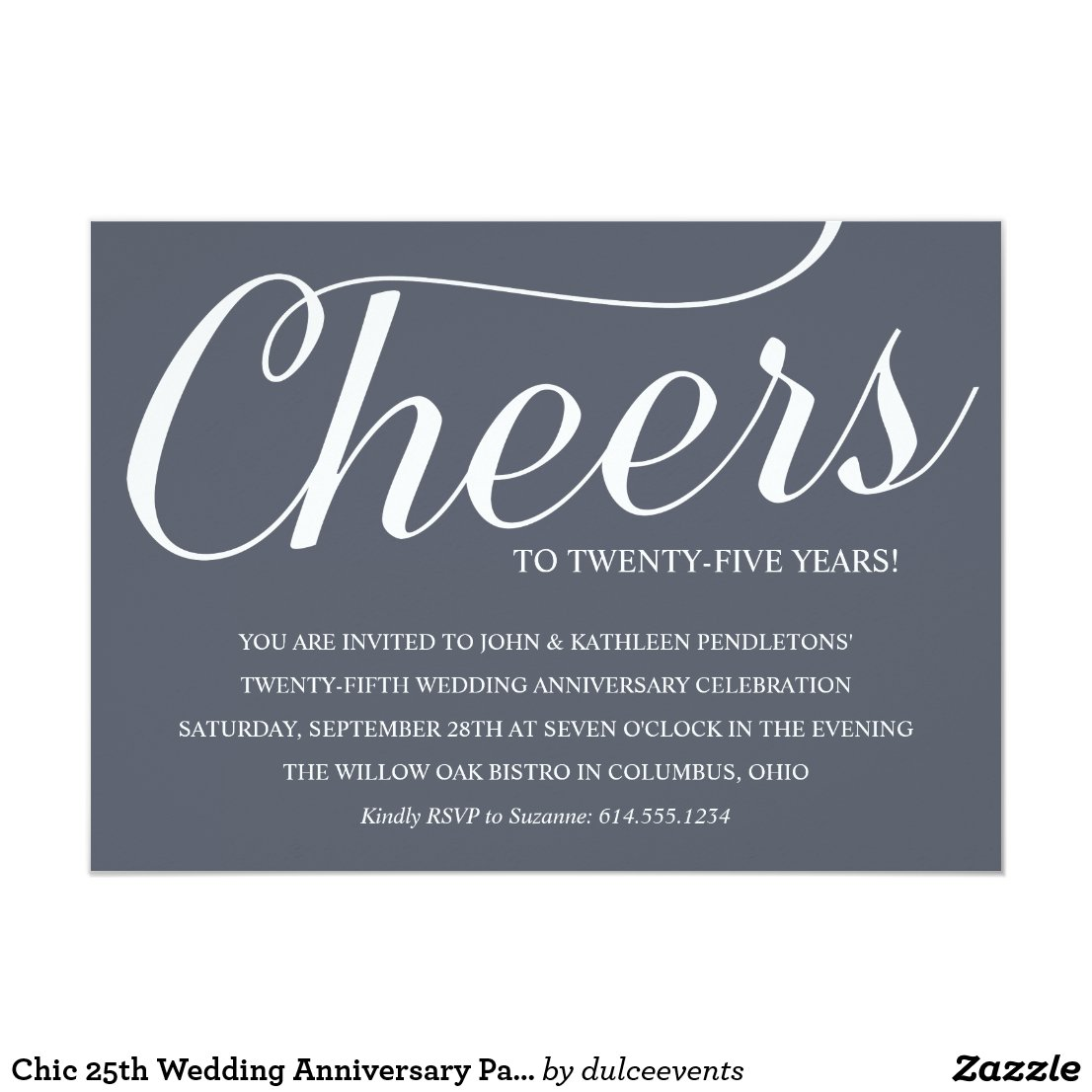 Chic 25th Wedding Anniversary Party Invitation