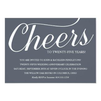 Chic 25th Wedding Anniversary Party Invitation