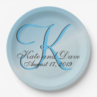 Chic 3d Monogram Customizable Aquamarine Paper Plate