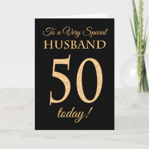 Chic 50th Gold Effect On Black Husband Birthday Card
