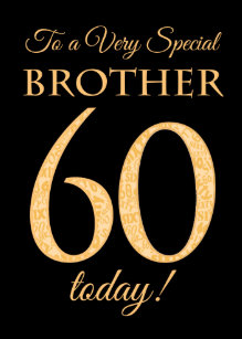 Chic 60th Gold Effect On Black Brother Birthday Card