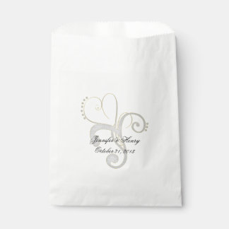 Chic Abstract Heart Custom Wedding Favor Bag Favour Bags