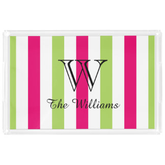CHIC ACRYLIC SERVING TRAY_LOVELY HOT PINK/GREEN