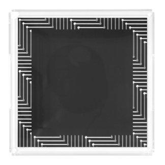 CHIC ACRYLIC TRAY_ WHITE/GREY ZIGZAG ON BLACK ACRYLIC TRAY