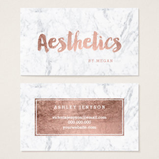 Chic aesthetics modern rose gold typography marble business card