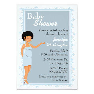 Chic African American Baby Boy Shower Invitation
