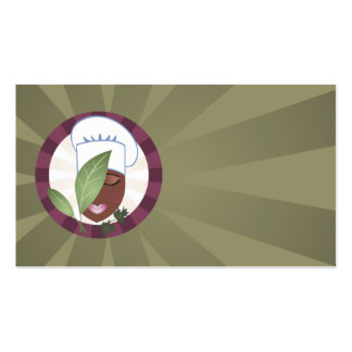 chic african american girl chef hat  biz card business cards