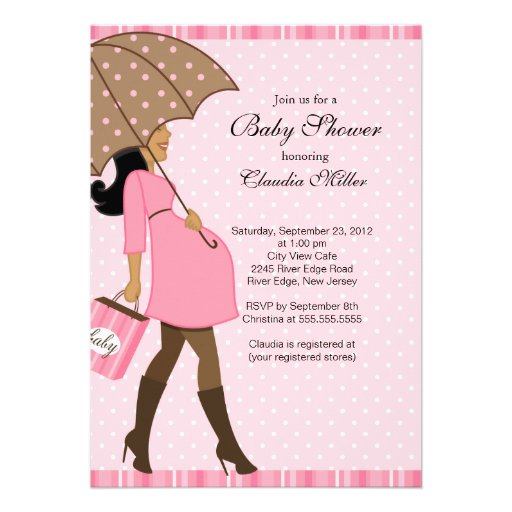 Chic African American Pregnant Mom Baby Shower Invites