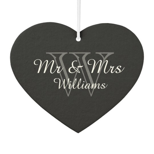 "CHIC AIR FRESHENER_""Mr & Mrs"" GRAY/BLACK/WHITE Car"