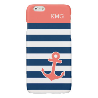 Chic Anchor Monograms in Trendy Coral Navy Strips iPhone 6 Plus Case