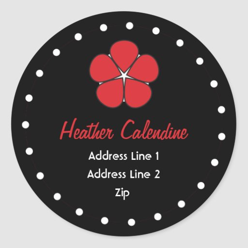 Chic and Cute Black and Red Address Label Round Stickers