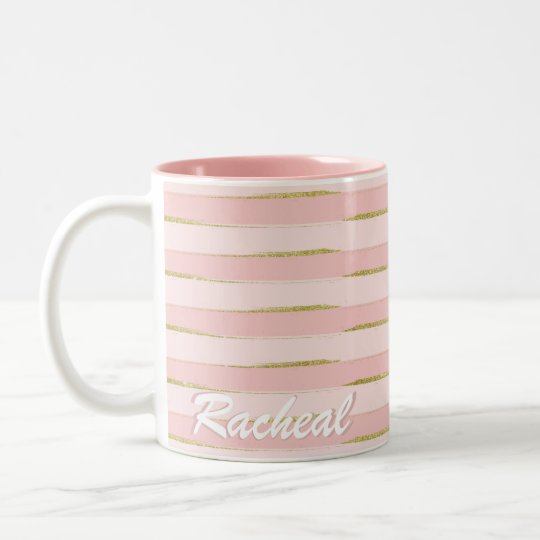 Chic and Elegant Gold Pink Stripes Two-Tone Coffee
