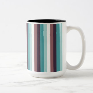 Chic And Modern Blue Brown White Stripes Pattern Two-Tone Mug