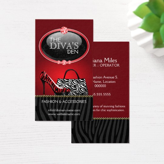 Chic and Sassy Fashion in Red Business Card