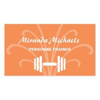 Chic and Stylish Orange Personal Fitness Trainer Pack Of Standard Business Cards