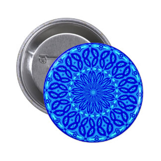 Chic Aqua and Blue Kaleidoscope Glow Mandala 6 Cm Round Badge