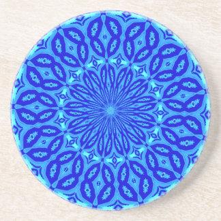 Chic Aqua and Blue Kaleidoscope Glow Mandala Beverage Coasters