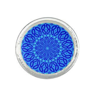 Chic Aqua and Blue Kaleidoscope Glow Mandala