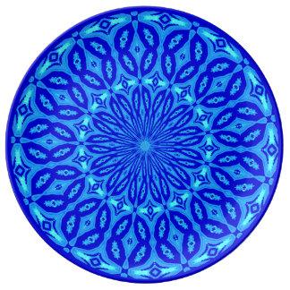 Chic Aqua and Blue Kaleidoscope Glow Mandala Plate